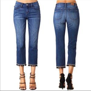 NWT Judy Blue medium wash cropped tassel hem jeans